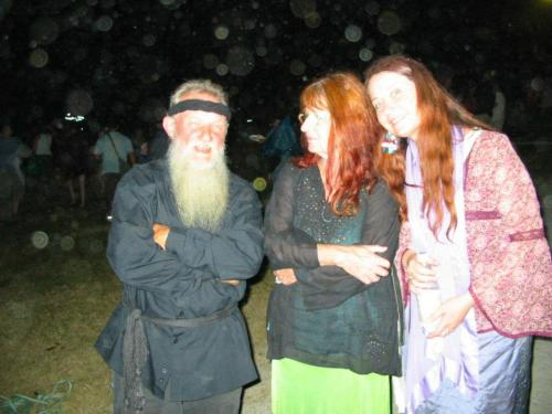 An earlier Woodford Festival, me and mum with the master of the Fire Event.