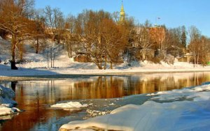 River scene in Riga Latvia.