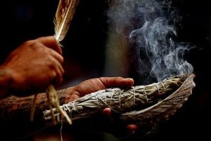 Smudging with sage.