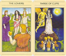 A couple of cards from the Mythic Tarot: The Lovers and the 3 of Cups.