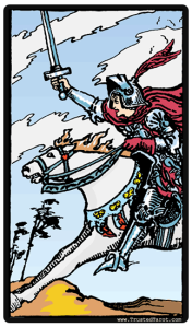 The Knight of Swords tarot card.