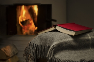 Warm fire book and blanket